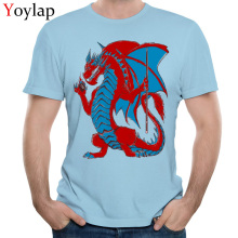 YOYLAP Magic 8 Ball Dragon Men's T-Shirt Summer Autumn Design Tops Tees Short Sleeve Graphic Pure Cotton Custom Clothing Shirt(China)