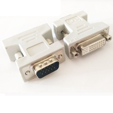 2pcies/lot VGA SVGA RGB 15Pin Male to DVI -I 24+5 Female adapter Beige for video card dvi vga adapter