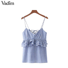 Vadim sweet ruffles lace up striped camis tops sexy sleeveless spaghetti strap shirts ladies summer casual blouse blusas WT464