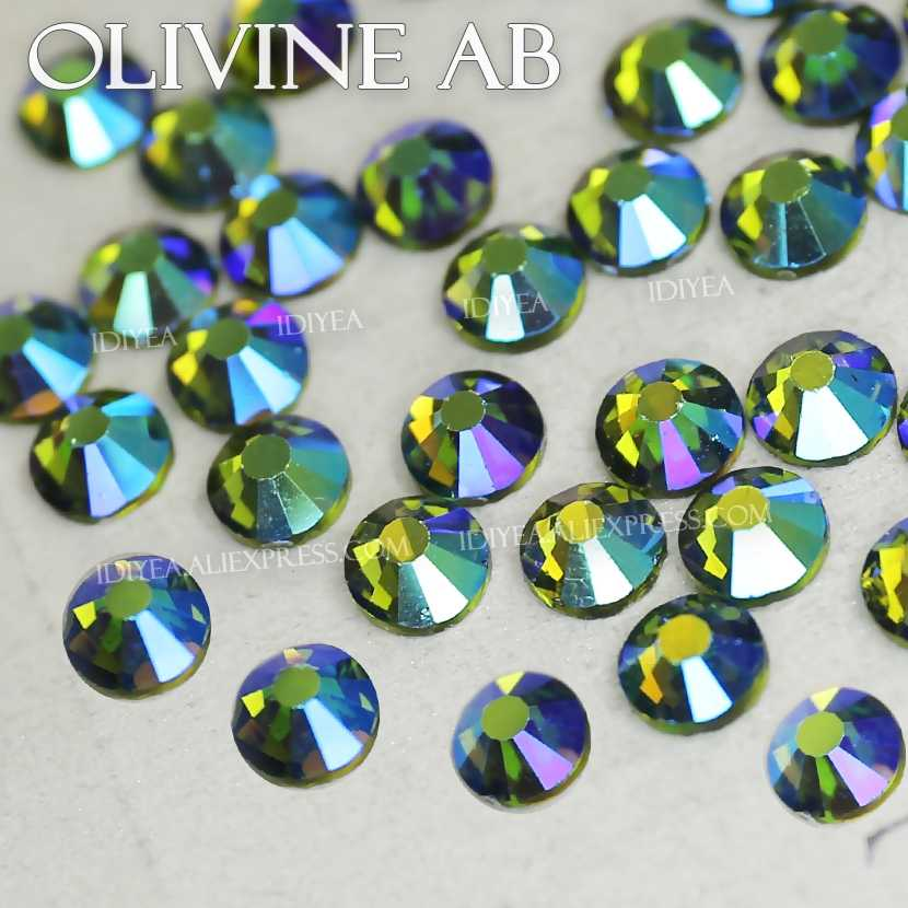 Olivine AB all sizes SS3-SS30 Rhinestone for nails art glitters design Non  HotFix crystal 98534094cbf7
