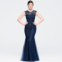 Navy Mermaid Bridesmaid dresses Cheap Elegant Beauty Sleeveless Lace Maid of honor dress 2017 New Custom Vestido de Festa H245