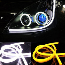 2X 60cm Daytime Running Light Universial Flexible Soft Tube Guide Car LED Strip White DRL Yellow Turn Light(China)