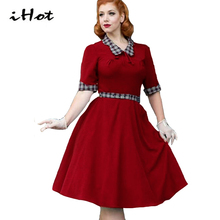 IHOT flare dresses women audrey hepburn vintage retro 50s 60s bow plaid tartan patchwork tunic green party wiggle dress vestido