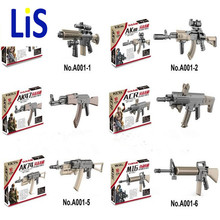 Lis Wholesale WW2 weapon Building Block mini Bricks rifle Sniper rifle Submachine gun M4 AK47 M16 AK74 Building Blocks lep Toys