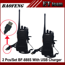 2 pcs/set Cheapest Walkie Talkie Baofeng BF-888s 5W 16CH UHF 400-470MHz BF 888S Interphone BaoFeng 888S Radio with USB charger(China)