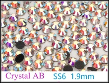 Good Quality Crystal AB SS6 1.9-2.0mm Hotfix Rhinestone Glass Crystals Iron-on Rhinestones Shiny DIY Garment Bag With Glue