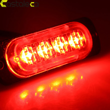 Casteleca 12V 4 Led Police Flashing Warning Light Red Blue Emergency Vehicle Strobe Lights Beacon For Cars Truck