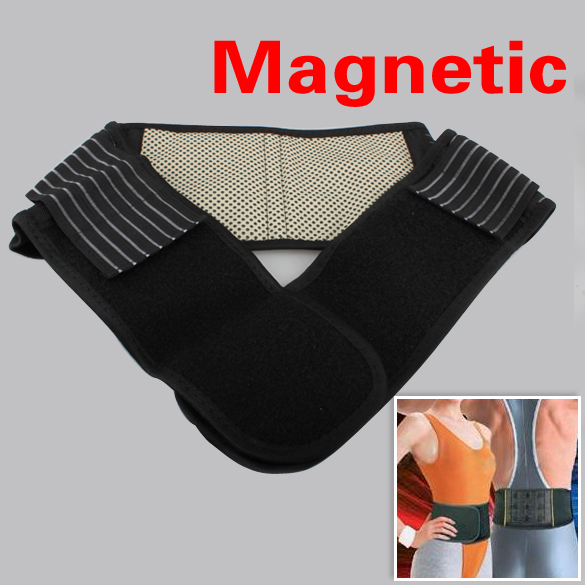 Black Waist Brace Support Spontaneous Heating Protection Magnetic Therapy Belt HB88(China (Mainland))