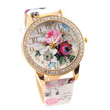 Women Watches Flower Crystal Dress 2017 Wristwatch Relojes Mujer Woman Quartz-watch Leather Relogio Feminino Hour Quartz Clock(China)