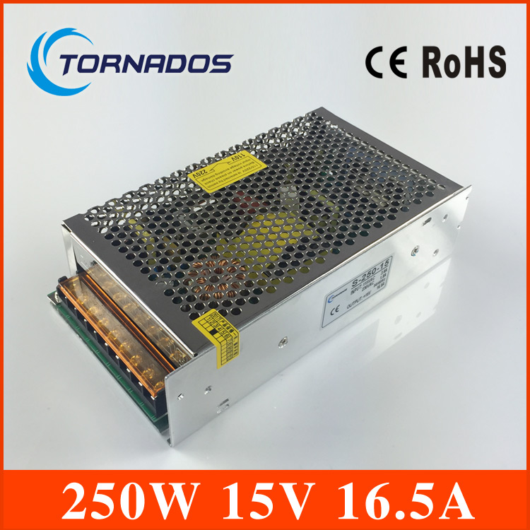 250W 15V 16.5A Single Output Switching power supply for LED Strip light AC-DC 110/220VAC input (S-250-15)<br>