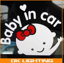 1PC NEW Cute 17*14 cm Baby On Board Baby In Car Car Sticker Waterproof Reflective Car Decal On Rear Windshield Car-styling