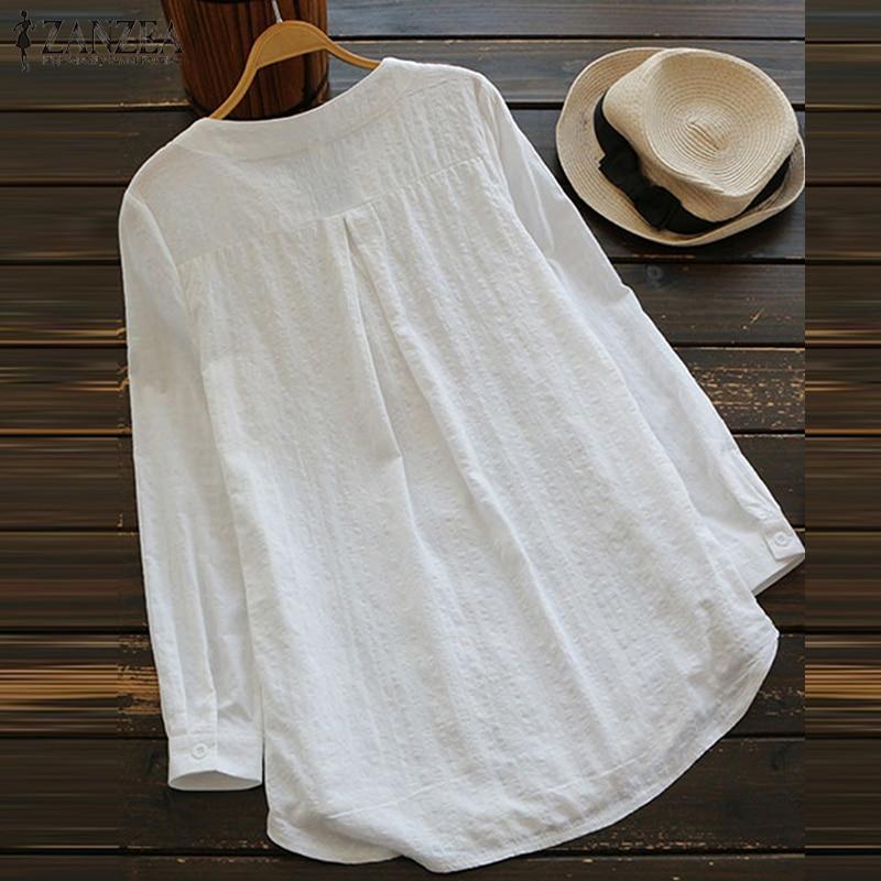 ZANZEA 2018 Summer Women V Neck Embroidery Blouse Autumn Elegant Lace Patchwork Long Sleeve Shirt Loose Top Work Blusa Plus Size 5