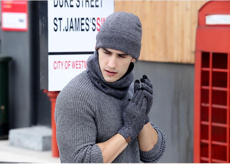 scarf gloves hat set women men winter scarf hat set winter hat scarf and glove set smart touch screen texting gloves set (18)