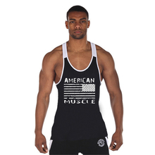 Speed to sell through the new hot sales muscle fitness the American music vest the quick-drying bodybuilding cotton splicing spo