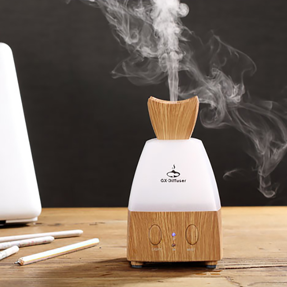 Creative Flower Bud Wooden Ultrasonic Air Humidifier LED Light Essential Oil Aroma Diffuser Home Office Mist Maker Fogger<br>