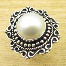 Pearl Beautiful GEM STONE !  Silver Overlay UNISEX Ring Size US 8 ONLINE STORE