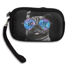 New Fashion Creative 3D Print Pug Dog With Cool Sunglasses Womens Wallet Girls Cute Coin Purse Small Storage Bags For Key Card