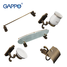 Gappo 5PC/Set Bathroom Accessories Towel Bar,Soap Dish,Toothbrush Holder,Toilet Paper Holder,Glass shelf Bath Sets G36T5