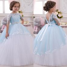 New Baby Princess Flower Girl Dress Lace Appliques Wedding Prom Ball Gowns Birthday Communion Toddler Kids TuTu Dress