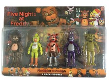 New Arrival  5.5 Inch Five Nights At Freddy's PVC Action Figure Toy Foxy Gold Freddy Chica Freddy Bears With  LED Lights