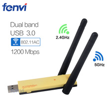 Dual Band 802.11ac 1200Mbps USB 3.0 Wifi dongle Wireless-AC Network Lan Card Antennas Adapter For Windows XP/7/8/8.1/10/ Mac OSX(China)