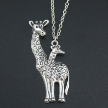 "New Women Men's Jewelry Vintage Bronze/Silver Tone Giraffe Pendant 18"" Short Necklace 4434 Free Shipping"