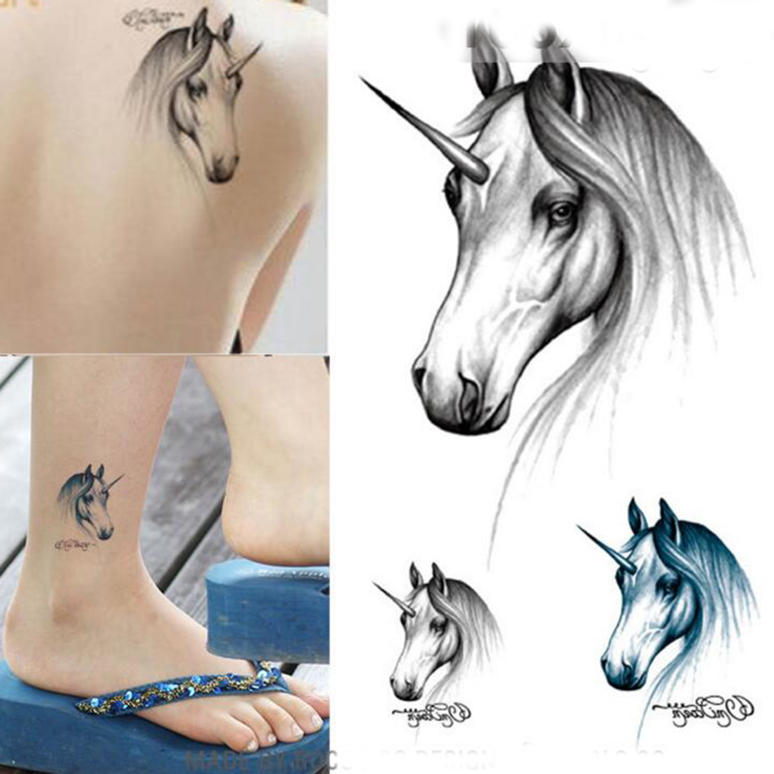 Fashion Temporary 3D Waterproof Tattoo Sticker Body Art Water Transfer Fake Tattoo Unicorn Horse For Halloween Hot Sale(China (Mainland))