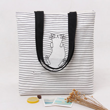Brand New Handmade Cotton Canvas Eco Shopping Tote Carry Bag zipped Black Line Sleep Cat printing Cotton storage Bag