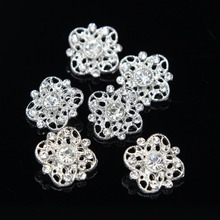 6 X Bling Bling Clear Rhinestone Flower Crystal Buttons Silver Sewing Craft(China)