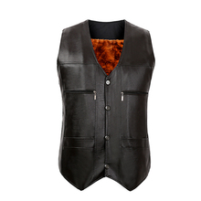 TG6447 Cheap wholesale 2017 new Men's leather vest the big yards father middle-aged waistcoat vest suit with velvet thickening(China)