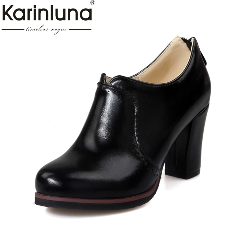 KARINLUNA Plus size 32-48 Women Pumps Vintage Chunky High Heels Party Wedding platform Shoes Woman Zipper Quality Footwear<br>
