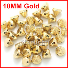 Spike beads 10mm Golden Plastic spike studs sew on or glue on nailhead DIY for Clothing/ jewelry 500pcs/lo(China)
