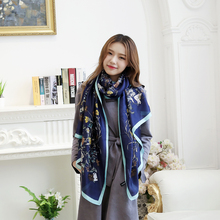 New 2017 Women Pashmina Floral Print Scarf Ethnic Style Wrap Female Flowers Birds Scarves Shawls For Girls Oblong Flower Scarf