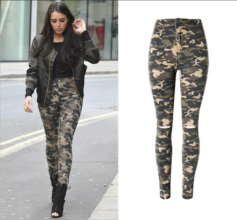 Women Fashion Jeans Army Camouflage High-Waist Denim Stretch Skinny Knee Hole Full-Length Pencil Hot Burst Pockets Sexy JeansОдежда и ак�е��уары<br><br><br>Aliexpress