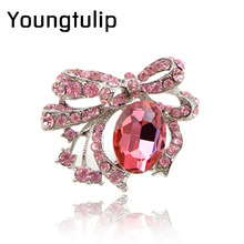 Young tulip pink color crystal flower brooches luxury elegant brooch and pin women's dress decorations hat fashion jewelry new(China)