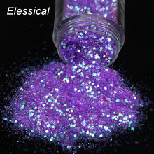 ELESSICAL Holographic Shiny Purple Hexagon Nail Glitters Sequins Acrylic Powders Dust Mixed Color Polishing For Nails WY831