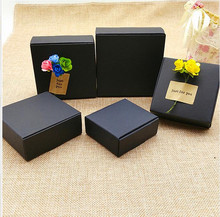 13 sizes Small Black Cardboard gift box,Black Package paper carton box, Gift paper handmade soap packaging craft box folding