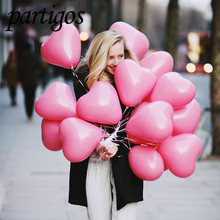 10pcs/lot Romantic 12 Inches 2.2g pink Heart Love Latex new year helium Balloons Wedding Party Valentines Day inflatable balls(China)