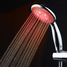 1Pcs Water power Colorful LED Shower Head Handheld Temperature Sensor Light Shower Head No Battery Bathroom Accessories