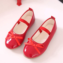 Black Red Children Shoes Girls Shoes Princess Shoes Fashion Bowtie Patent Leather Autumn Kids Single Shoes Girls Sandals CSH207(China)