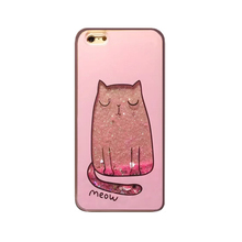 2017 Fashion Christmas gifts shining flare pink star love sequins glitter quicksand meow cat pet tpu cell phones case For Iphone(China)