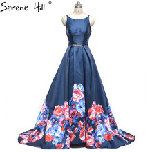Print Flower Lace Up Ball Gown Evening Dress Backless Bridal Gowns Robe De Mariage Rouge 2017 Real Photo Serene Hill(China)