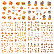 12 Designs In One Set Thanksgiving Nail Sticker Water Transfer Nail Art Decal Yellow Leaf Turkey Designs Decorations JIBN361-372