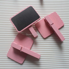6 Pink Rectangle Wooden Blackboard Chalkboard Clips - Wedding Table Decoration, Place Setting, Home Oranization