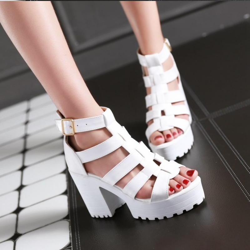 New Fashion Rome Style Shoes, Women Solid Peep Toe Gladiator Shoes, Buckle Platform Women Sandals 15