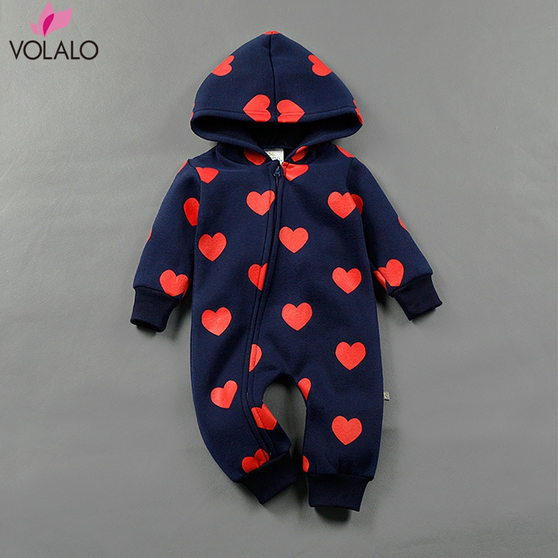 2016 Winter romper baby heart pattern romper baby girls hooded romper baby boy zipper jumpsuit<br><br>Aliexpress