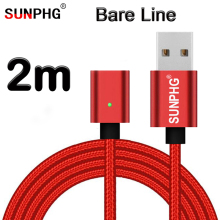 Buy SUNPHG 2m Magnetic Bare Cable iPhone Samsung Xiaomi Android Type c Line Nylon Magnet Wire Charger Data Fast Charging for $3.14 in AliExpress store