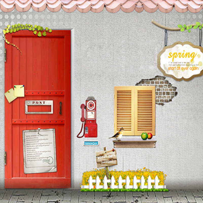 Red Painting Door Telephone on Gray Wall Brick Floor Children Birthday Photography Backdrops for Photo Studio 150cm*200cm<br><br>Aliexpress