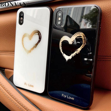 Buy BONVAN Tempered Glass Case iPhone X Lovely Heart Hard Back Cover Soft Silicone Bumper iPhone 7 6S 8 Plus 6 Plus Cases for $3.70 in AliExpress store