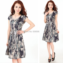 New design summer fashion striped printing lady's sleeveless silk dress with belt
